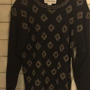 Victoria Harbour Sweaters - Black Multi Beaded Women's Sweater NEW W/Tags Sz S